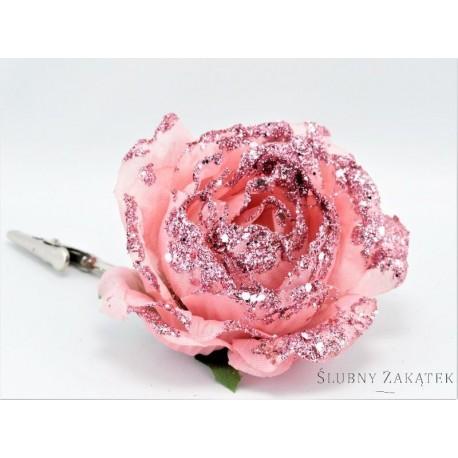 Kwiat Sztuczny Róże Z Brokatem Zestaw Pudrowy Róż Dekoracje I Ozdoby ślubne Wwwslubnyzakatekcom