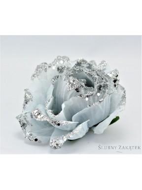 KWIAT SZTUCZNY Róże z brokatem zestaw, srebrne