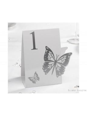 NUMERKI NA STOŁY Motyl, srebrne