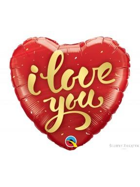BALON FOLIOWY I Love You, serce czerwone