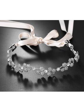 OZDOBA DO WŁOSÓW Opaska Ślubna z kryształkami 00075-1