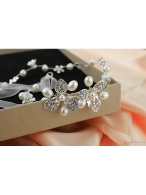 OZDOBA DO WŁOSÓW Opaska Ślubna z kryształkami 00045-1