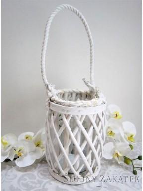 LAMPION - ŚWIECZNIK biały stylizowany, mały