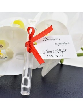 BAŃKI MYDLANE Serduszko białe, personalizowane - podziękowanie dla gości