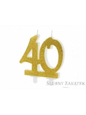 """ŚWIECZKA URODZINOWA """"40"""", złoty brokat"""