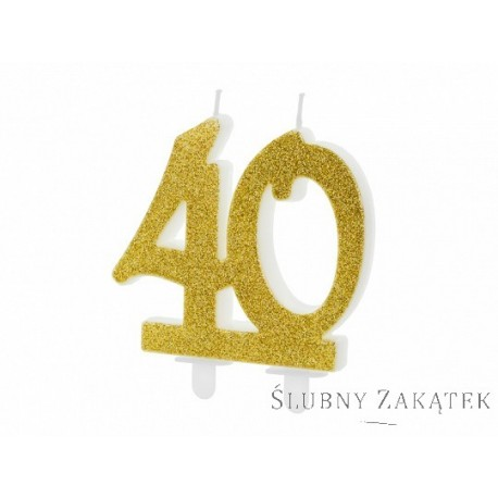 """ŚWIECZKA URODZINOWA """"30"""", złoty brokat"""