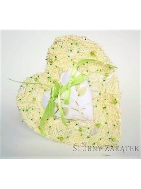Serce na obrączki pistacja