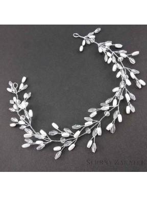 OZDOBA DO WŁOSÓW Gałązka Ślubna 00059-2 Kryształki i perełki, srebrna