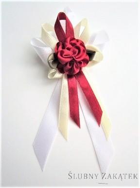Kotyliony dla rodziców - kwiat bordo, tasiemka bordo